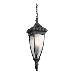 Black W/gold Two Light Outdoor Pendant from the Venetian Rain Collection