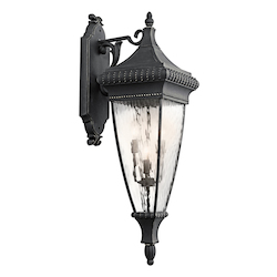 Black W/gold Venetian Rain Collection 4 Light 37in. Outdoor Wall Light