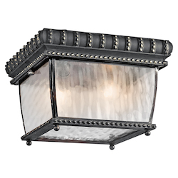 Black W/gold Two Light Outdoor Flush Mount Ceiling Fixture from the Venetian Rain Collection