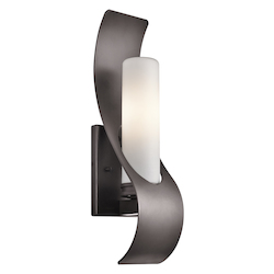 Architectural Bronze Zolder Single Light 17in. Tall Outdoor Wall Sconce with Etched Glass Shade