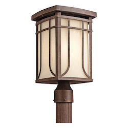 Kichler One Light Aged Bronze Post Light - 49150AGZ