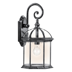 Black (painted) Barrie Collection 1 Light 19in. Outdoor Wall Light