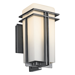 Black (painted) Tremillo Single Light 12in. Tall Outdoor Wall Sconce with Etched Glass