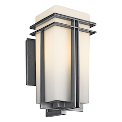 Black (painted) Tremillo Single Light 17in. Tall Outdoor Wall Sconce with Etched Glass