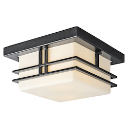 Black (painted) Tremillo 2 Light 12in. Wide Flush Mount Outdoor Ceiling Fixture with Etched Glass