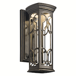 Olde Bronze Franceasi Single Light 15in. Tall LED Outdoor Wall Sconce with Patterned Metal Frame