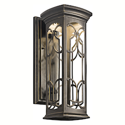 Olde Bronze Franceasi Single Light 18in. Tall LED Outdoor Wall Sconce with Patterned Metal Frame