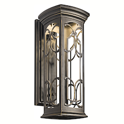 Olde Bronze Franceasi Single Light 22in. Tall LED Outdoor Wall Sconce with Patterned Metal Frame
