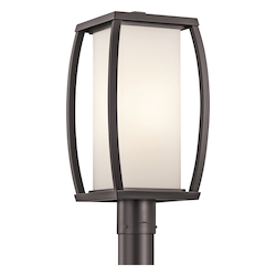 Architectural Bronze 1 Light Up / Down Lighting 18.5in. Outdoor Post Lamp with Rectangular Cased Opal Shade from the Bowen Collection