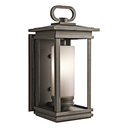Rubbed Bronze South Hope Single Light 20in. Tall Outdoor Wall Sconce with Cylindrical Etched Glass Shade