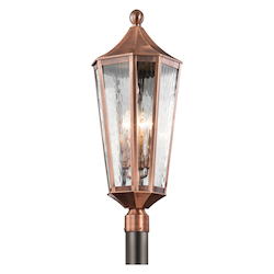 Kichler Four Light Antique Copper Post Light - 49516ACO