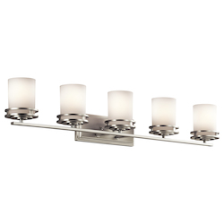 Brushed Nickel Hendrik 5 Light 43in. Wide Vanity Light Bathroom Fixture with Satin Etched Glass Shades