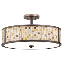 Kichler Five Light Olde Bronze Drum Shade Semi-Flush Mount - 65381