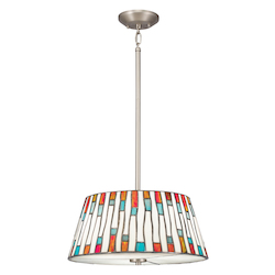 Kichler Three Light Brushed Nickel Drum Shade Pendant - 65400