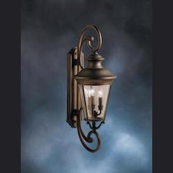 Olde Bronze Eau Claire Collection 3 Light 32in. Outdoor Wall Light