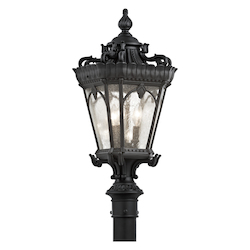 Black Tournai 3 Light 27in. Tall Single Outdoor Post Light with Seedy Glass Panels