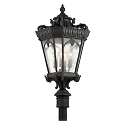 Black Tournai 4 Light 37.5 Inch Tall Outdoor Post Light