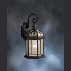 Black Barrie Single 16in. Tall Light Outdoor Wall Sconce with Clear Beveled Glass Panels