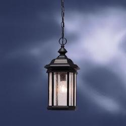 Black (painted) 1 Light Outdoor Pendant from the Kirkwood Collection