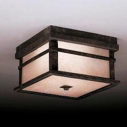 Aged Bronze 2 Light Outdoor Ceiling Fixture from the Cross Creek Collection