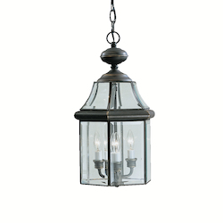Olde Bronze Embassy Row 3-Bulb Indoor Pendant with Lantern-Style Glass Shade
