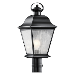 Black Mount Vernon Single Light 21in. Wide Outdoor Post Light with Seedy Glass Panels