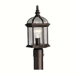 Black Barrie Single Light 16in. Wide Outdoor Post Light with Clear Beveled Glass Panels
