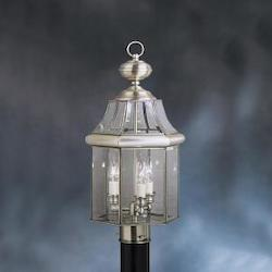 Antique Pewter 3 Light Post Light from the Embassy Row Collection