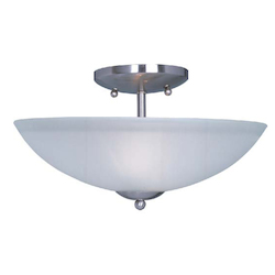 Maxim Two Light Satin Nickel Frosted Glass Bowl Semi-Flush Mount - 10042FTSN