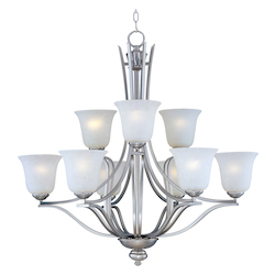 Nine Light Ice Glass Satin Silver Up Chandelier