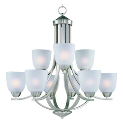 Maxim Nine Light Satin Nickel Frosted Glass Up Chandelier - 11226FTSN