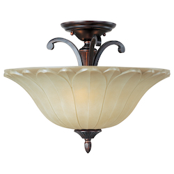 Maxim Three Light Oil Rubbed Bronze Wilshire Glass Bowl Semi-Flush Mount - 13501WSOI