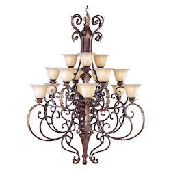 Fifteen Light Cafe Glass Auburn Florentine Up Chandelier