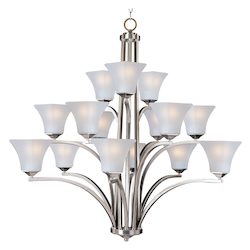 Fifteen Light Satin Nickel Frosted Glass Up Chandelier