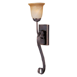 Maxim One Light Oil Rubbed Bronze Vintage Amber Glass Wall Light - 20618VAOI