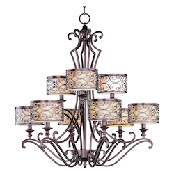 Nine Light Umber Bronze Drum Shade Chandelier