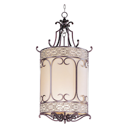 Six Light Umber Bronze Framed Glass Foyer Hall Fixture