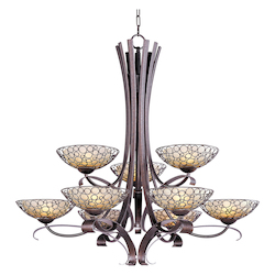 Nine Light Dusty White Glass Umber Bronze Up Chandelier