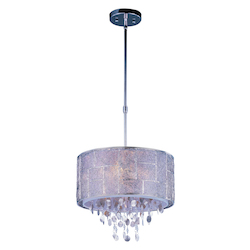 Maxim Five Light Polished Nickel Drum Shade Pendant - 21564TWPN