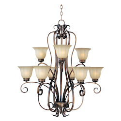Nine Light Platinum Dusk Wilshire Glass Up Chandelier