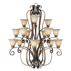 Fifteen Light Platinum Dusk Wilshire Glass Up Chandelier