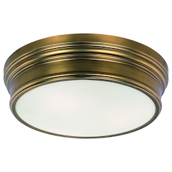 Maxim Three Light Satin White Glass Natural Aged Brass Drum Shade Flush Mount - 22371SWNAB