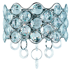 Maxim Two Light Polished Chrome Beveled Crystal Glass Wall Light - 23099BCPC