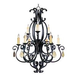 Nine Light Colonial Umber Up Chandelier