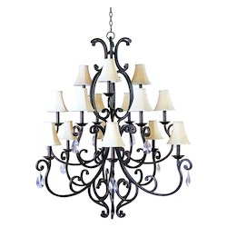 Fifteen Light Colonial Umber Up Chandelier