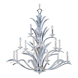 Fifteen Light Plated Silver Beveled Crystal Glass Up Chandelier