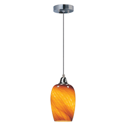 Amber Ripple 1 Light 7in. Wide Pendant from the Hue Collection