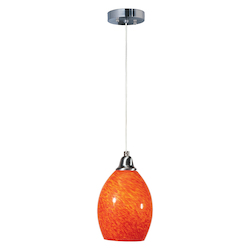Red   1 Light 7in. Wide Pendant from the Hue Collection