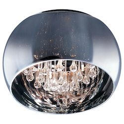 Polished Chrome Sense 6-Bulb Flush Mount Indoor Ceiling Fixture - Glass Shade Included