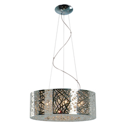 Polished Chrome Nine Light Pendant Ceiling Fixture From The Inca Collection